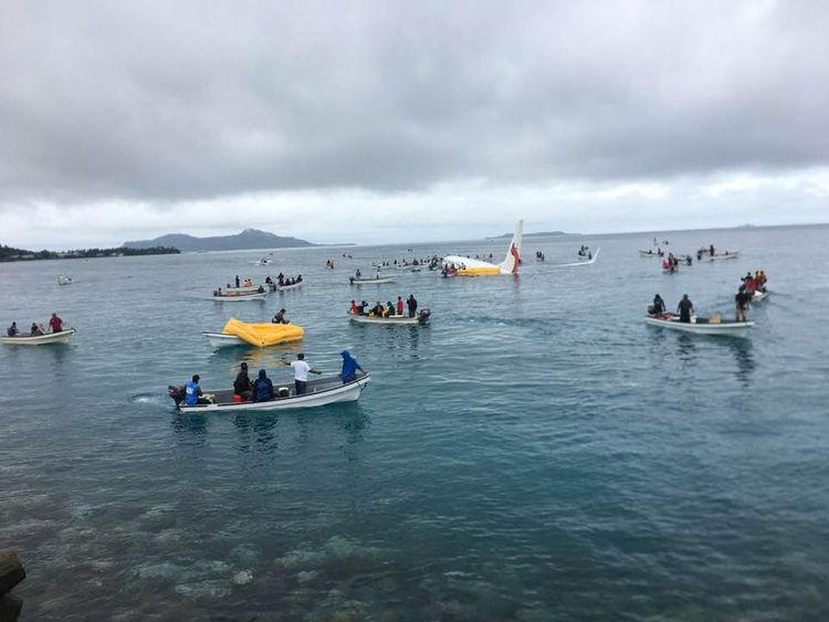 An Air Niugini plane overshot a runway in Micronesia and ended up in the ocean