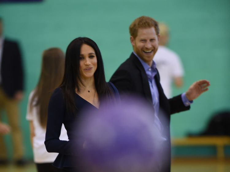 Harry and Meghan took to the netball court on Monday