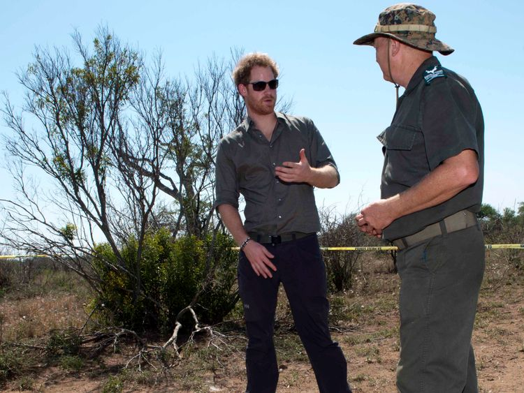 Prince Harry visited a crime scene of where a rhino was killed by poachers in Kruger National Park in 2015
