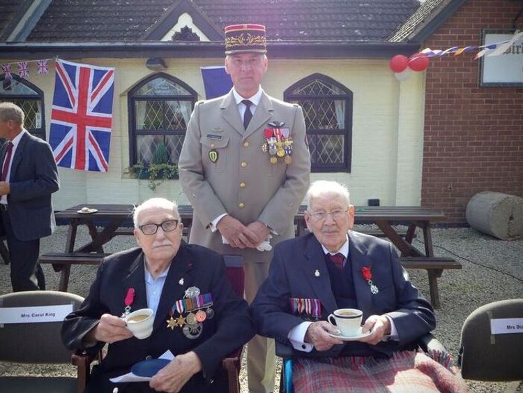 British Normandy veterans 95-year-old Bill Cowley and 100-year-old Ron Trenchard have been presented with France's highest honour, the Légion d'honneur. Pictured with French Brigadier-General Yann Poincignon. Pic: Allied Rapid Reaction Corps