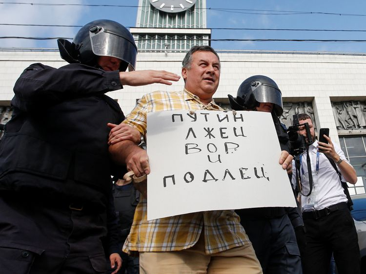 Russian police detain hundreds protesting against pension reform, rights group says