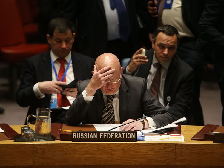 Russia's ambassador to the UN, Vassily Nebenzia, at the meeting