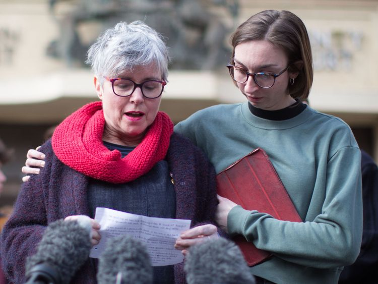 Dr Sara Ryan (left) speaks to the media