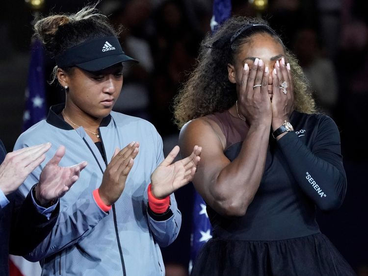 Serena Williams of the USA (right) cries while standing next to Naomi Osaka of Japan at the trophy presentation after the women's final on day thirteen of the 2018 U.S. Open tennis tournament at USTA Billie Jean King National Tennis Center. Mandatory Credit: Robert Deutsch-USA TODAY Sports