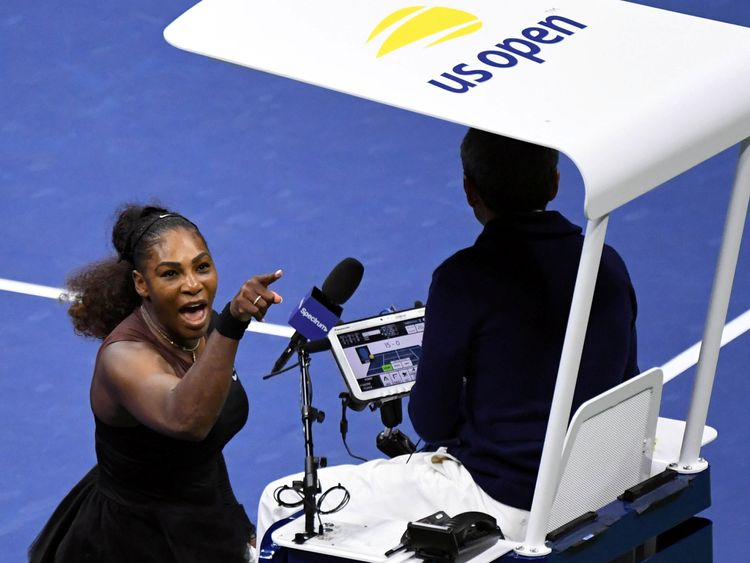 Serena Williams yells at umpire Carlos Ramos in the women's final