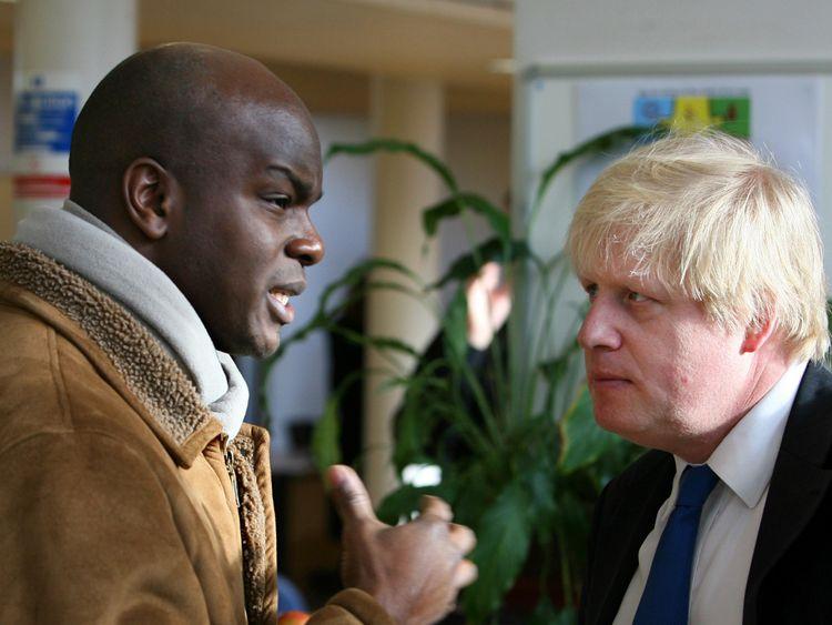 Shaun Bailey speaking to Boris Johnson, when he was Mayor of London in 2009