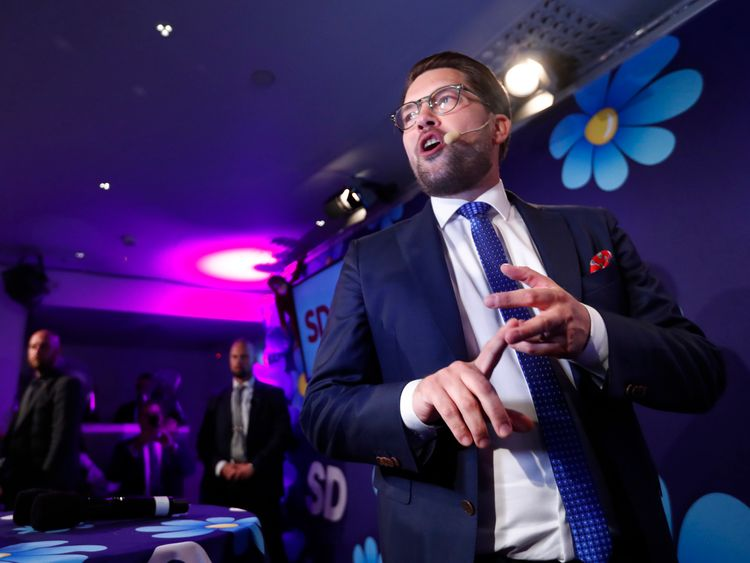 Sweden Democrats leader Akesson addresses party members as support surges