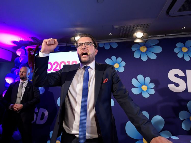 Sweden Democrats party leader Jimmie Akesson speaks on the evening of the election on September 9