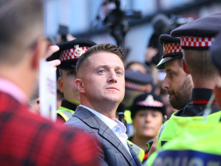 Former English Defence League (EDL) leader Tommy Robinson arrives at the Old Bailey where he is accused of contempt of court