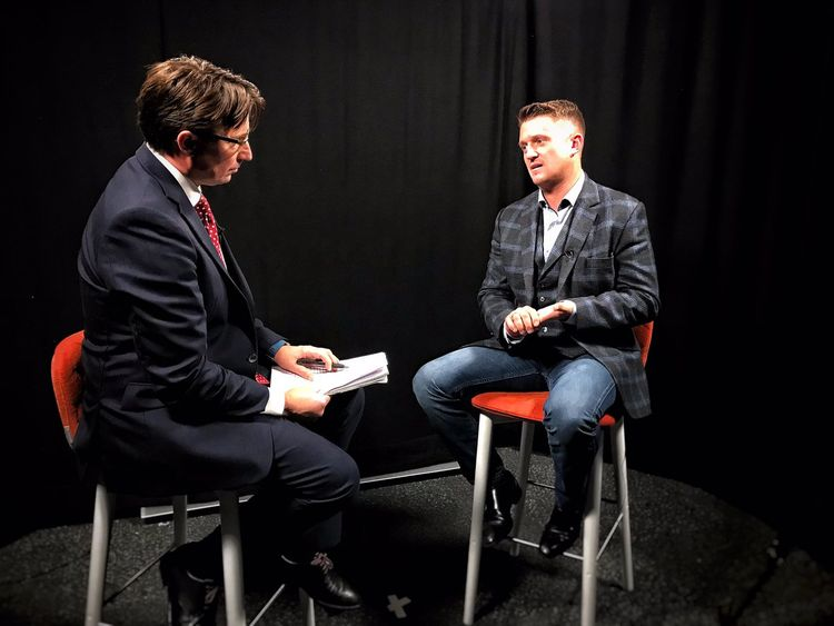 Tommy Robinson told Sky News he doesn't care whether his message 'incites fear' of Muslims