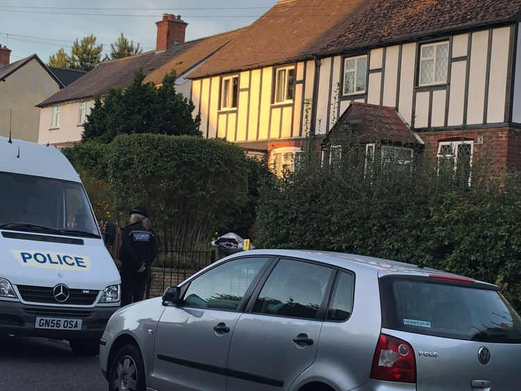 Police at the scene in Hadlow, near Tonbridge in Kent