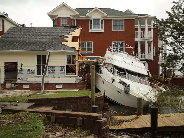 New Bern, United States. Hurricane Florence made landfall in North Carolina as a Category 1 storm