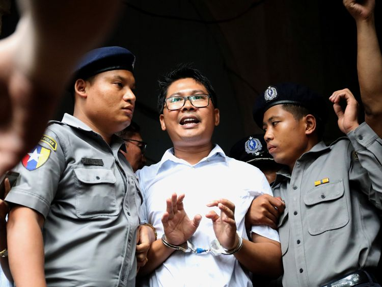 Reuters journalist Wa Lone departs Insein court after his verdict announcement in Yangon, Myanmar