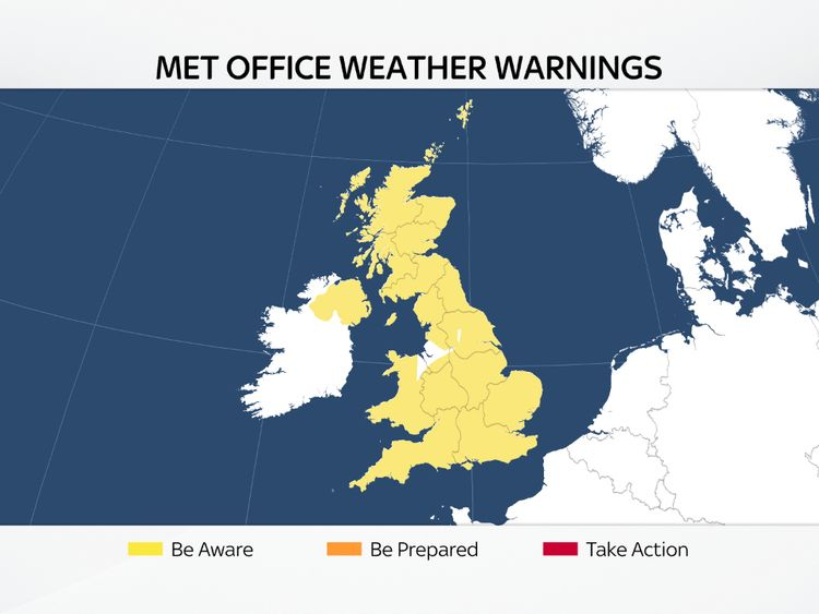 Weather warnings over the next 48 hours