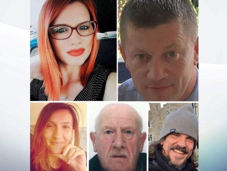 Five people were killed by Masood. Top: Andreea Cristea and Pc Keith Palmer. Bottom: Aysha Frade, Leslie Rhodes and Kurt Cochran