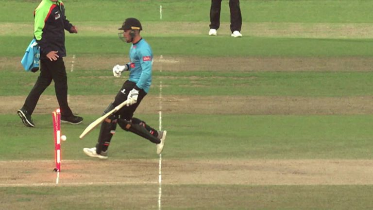 Sussex opener Philip Salt was run out in the Vitality Blast final against Worcestershire after failing to ground his bat.