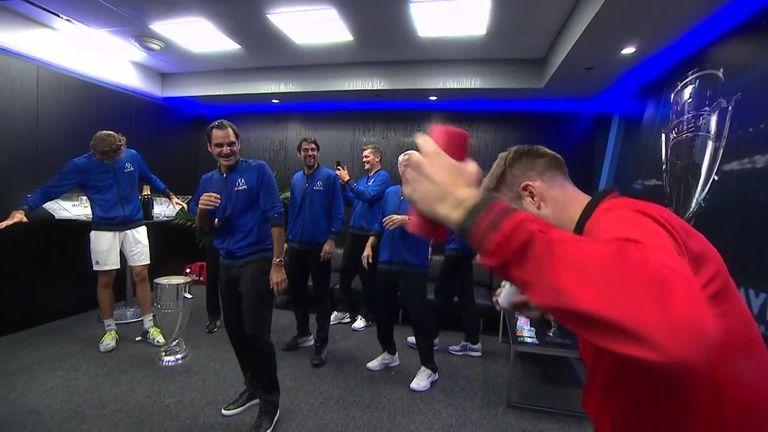 Team World gatecrashed Team Europe's celebrations in the locker room!