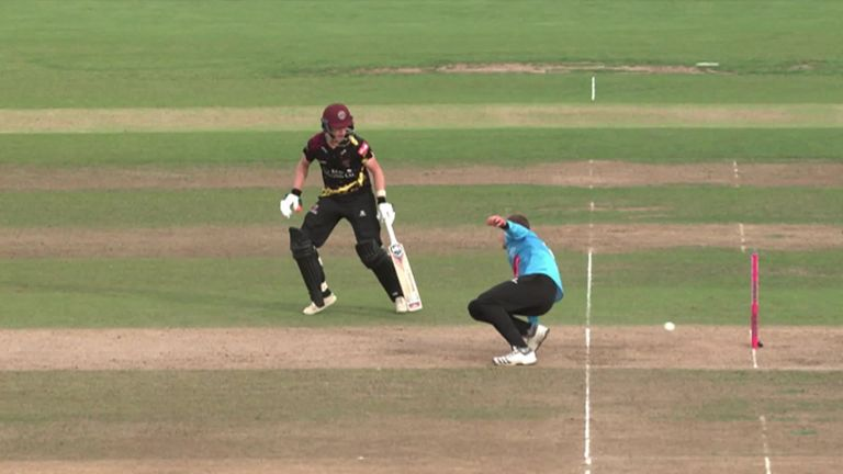 Somerset batsman Tom Abell was run out backing up in the Vitality Blast semi-final as Sussex's Danny Briggs turned the ball onto the non-striker's stumps.