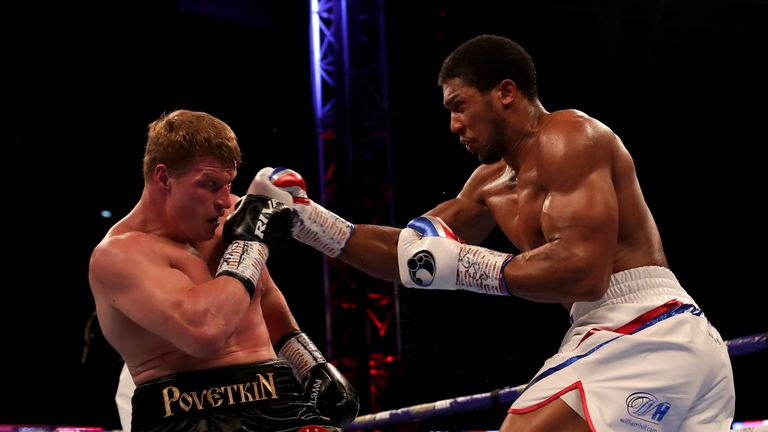 Anthony Joshua lands on Alexander Povetkin