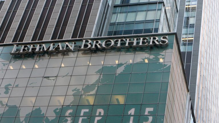 The Lehman Brothers building - pictured in New York on September 15 2008