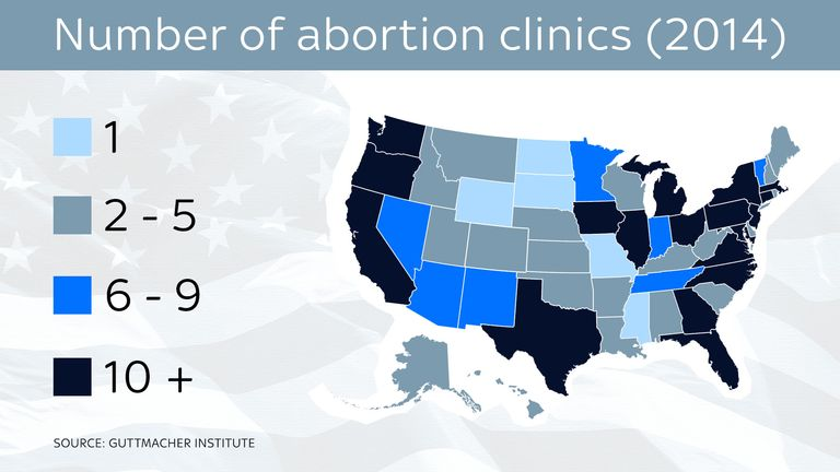 A graphic showing the number of clinics in each US state in 2014