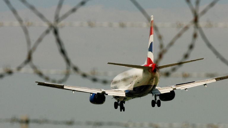 A British Airways passenger Jet lands at Gatwick Airport in Sussex.  PRESS ASSOCIATION Photo. Picture date:Thursday May 24, 2007.  Photo credit should read: Gareth Fuller/PA Wire
