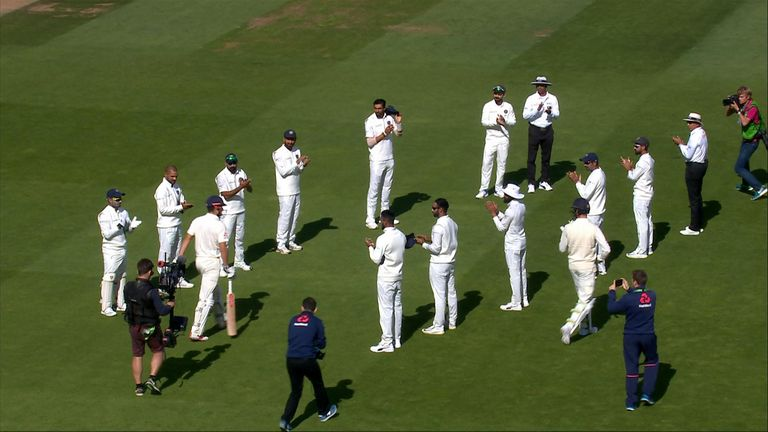 Alastair Cook recieves guard  of honor.