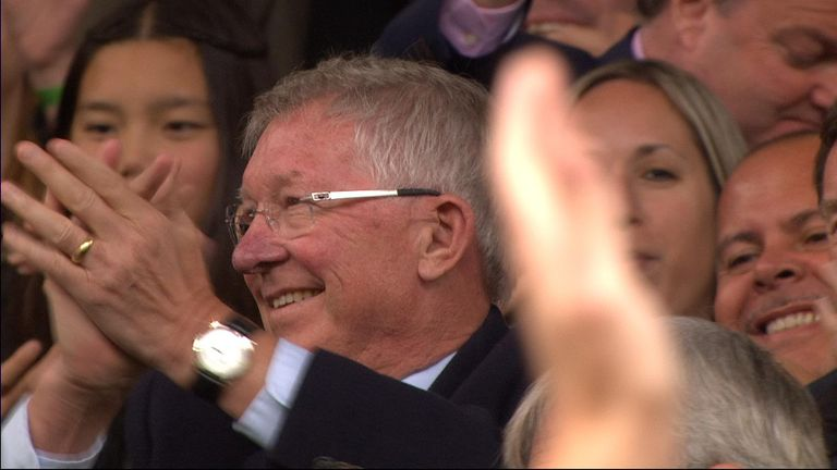 Sir Alex Ferguson returns to Old Trafford after brain surgery.