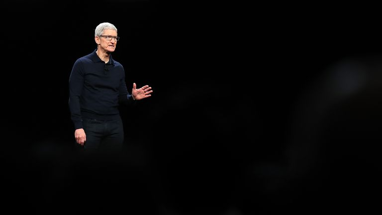 Apple CEO Tim Cook speaks during the 2018 Apple Worldwide Developer Conference (WWDC) at the San Jose Convention Center on June 4, 2018 in San Jose, California. Apple CEO Tim Cook kicked off the WWDC that runs through June 8.