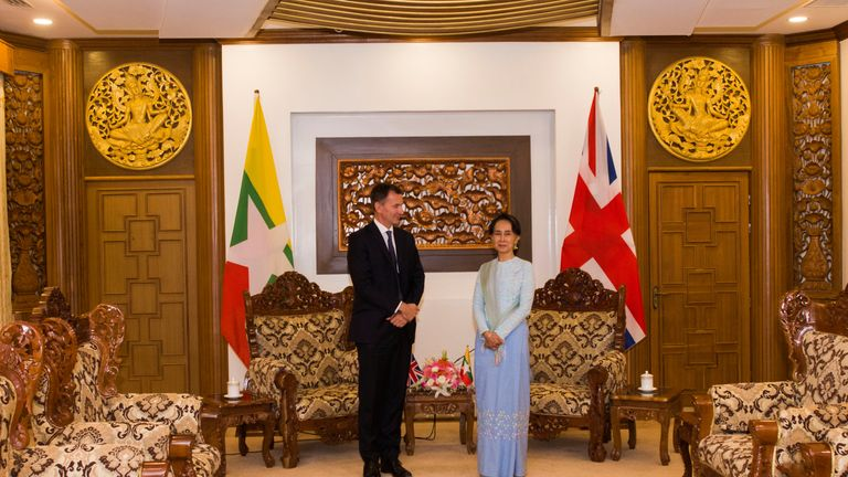 Jeremy Hunt told Aung San Suu Kyi the world 'will not rest' until the Rhongya crisis is sorted