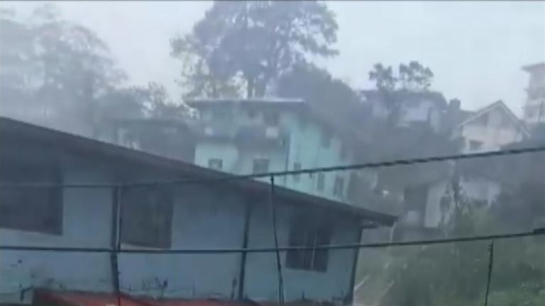 Extreme floods take away parts of building in the Philippines