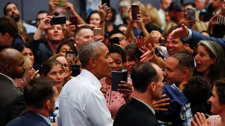 Mr Obama was giving a rally ahead of the midterm elections