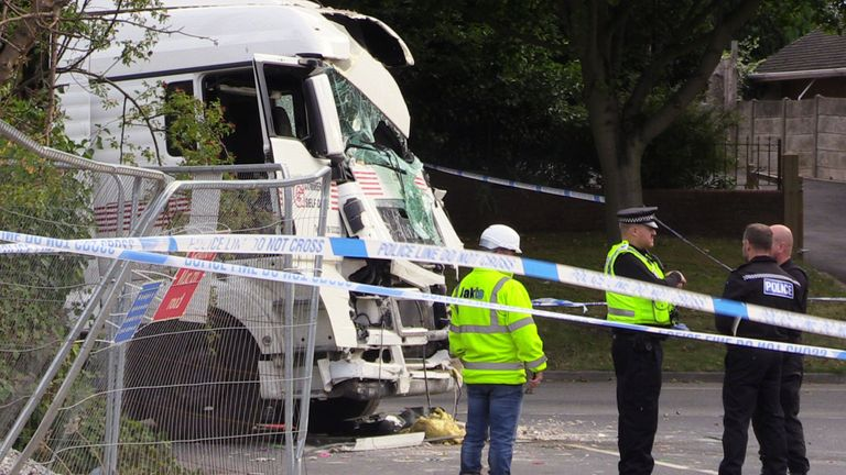 The white truck had been involved in a crime before the crash, according to police