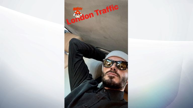 Beckham complained about traffic on the same day as the court session. Pic: David Beckham/Instagram