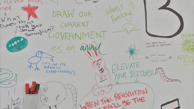 Festival goers shared ideas on a huge board