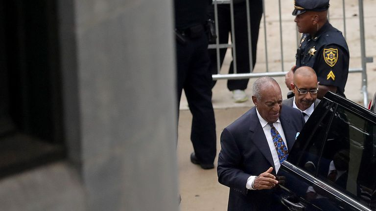 Bill Cosby arrives at the Montgomery County Courthouse for sentencing in his sexual assault trial in Norristown, Pennsylvania
