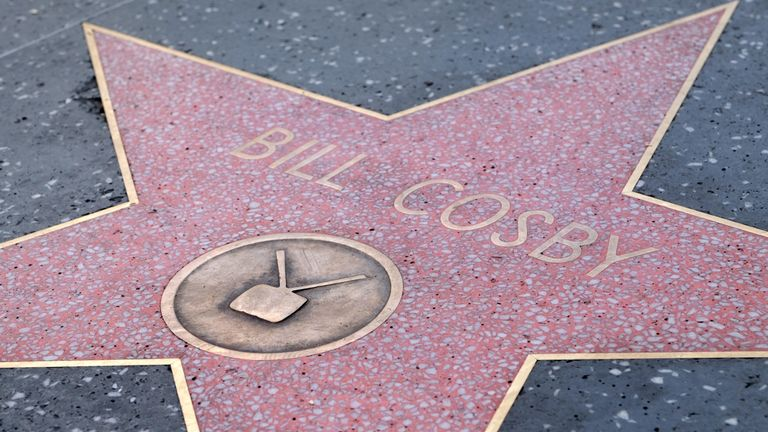 Bill Cosby's star on the Hollywood Walk of Fame is seen after it was repaired on September 4, 2018 in Hollywood, LA, California