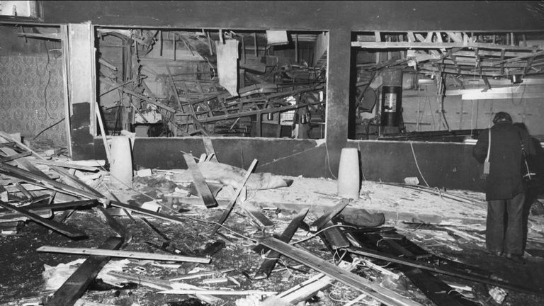 Photo from the aftermath of the 1974 Birmingham pub bombings.