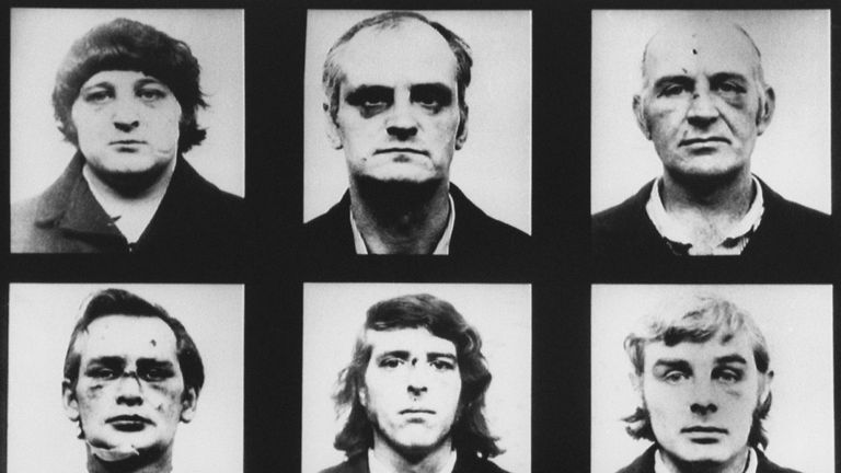 The Birmingham Six, from left, top; Patrick Hill, Hugh Callaghan and John Walker. Bottom; Richard McIlkenny, Gerard Hunter and William Power