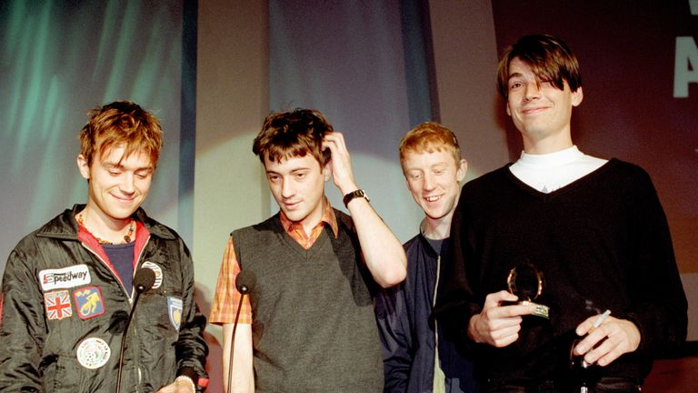 Blur accept the best album award at the 1994 Q Awards