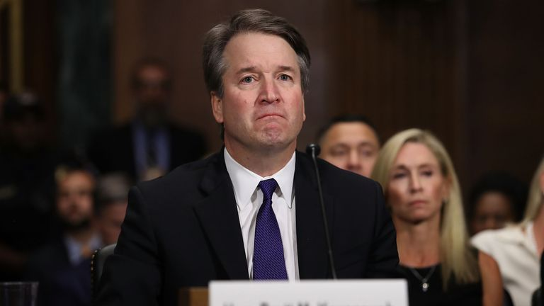 Brett Kavanaugh fought back tears during parts of his evidence