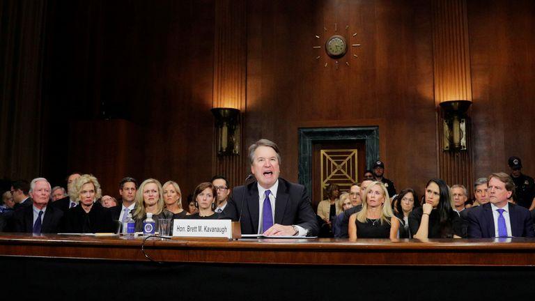 U.S. Supreme Court nominee Brett Kavanaugh testifies before a Senate Judiciary Committee confirmation hearing