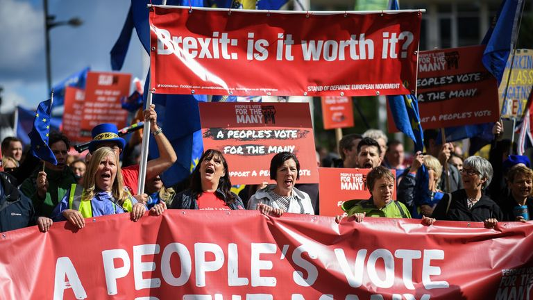 Anti-Brexit campaigners call for a people's vote in Liverpool