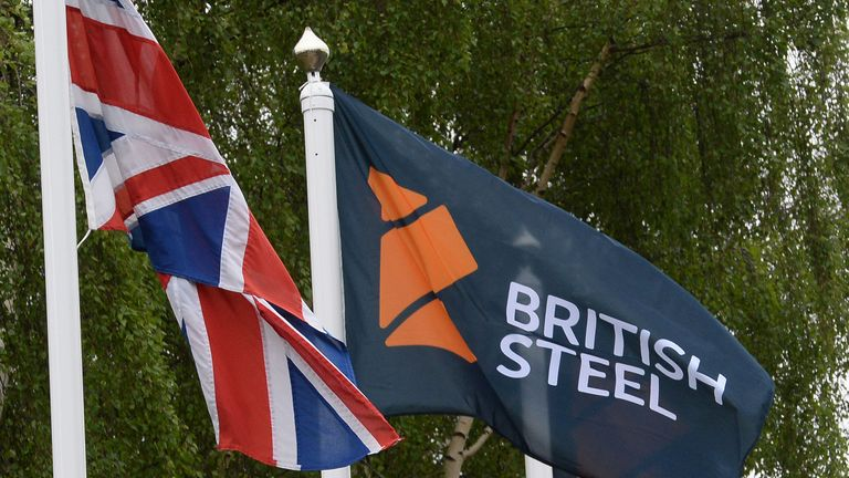 The new British Steel flag flies after the unveiling of the new British Steel sign at the entrance to the steelworks plant in Scunthorpe