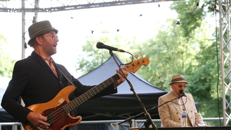 Dave Peacock (left) and Chas Hodges performed at the BST festival in Hyde Park, London this summer