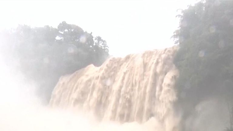Huangguoshu Waterfall swells after heavy rainfall