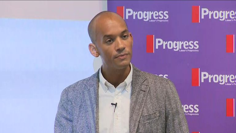 Chuka Umunna giving his speech in north London