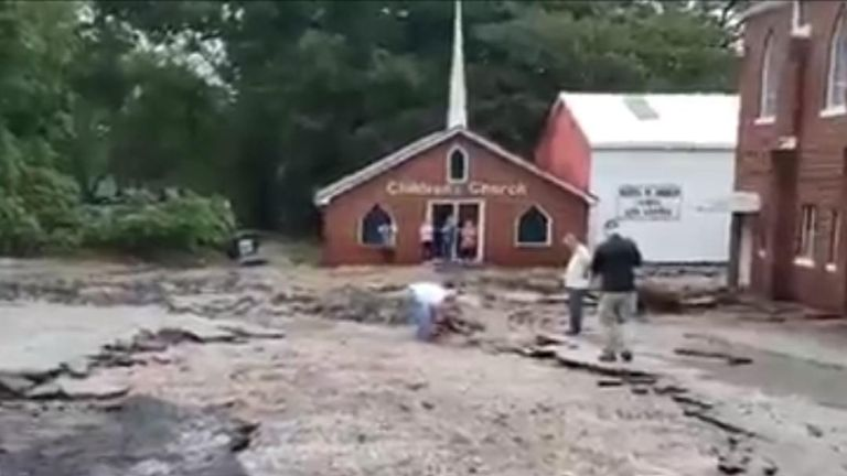 Church car park is destroyed by floods in Tennessee