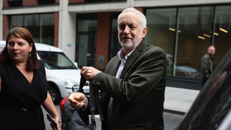 Mr Corbyn pictured arriving at the NEC meeting in London on Tuesday