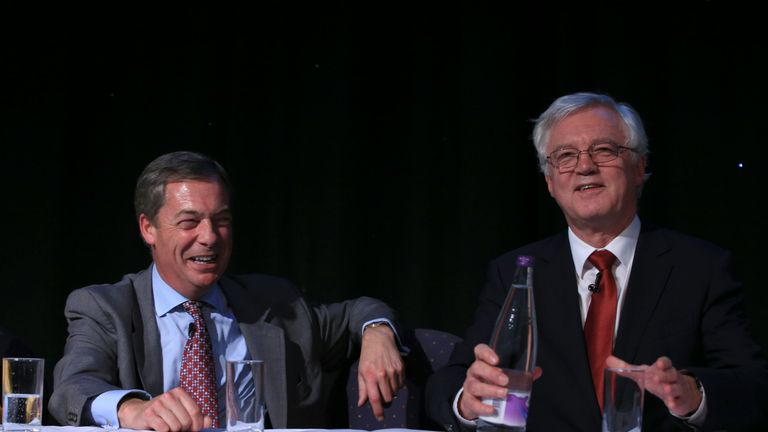 Nigel Farage and David Davis MP at a Leave Means Leave rally at the University of Bolton Stadium in Bolton